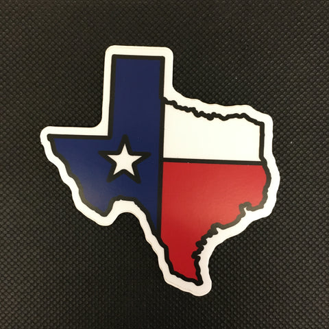 Texas Shaped Flag Sticker