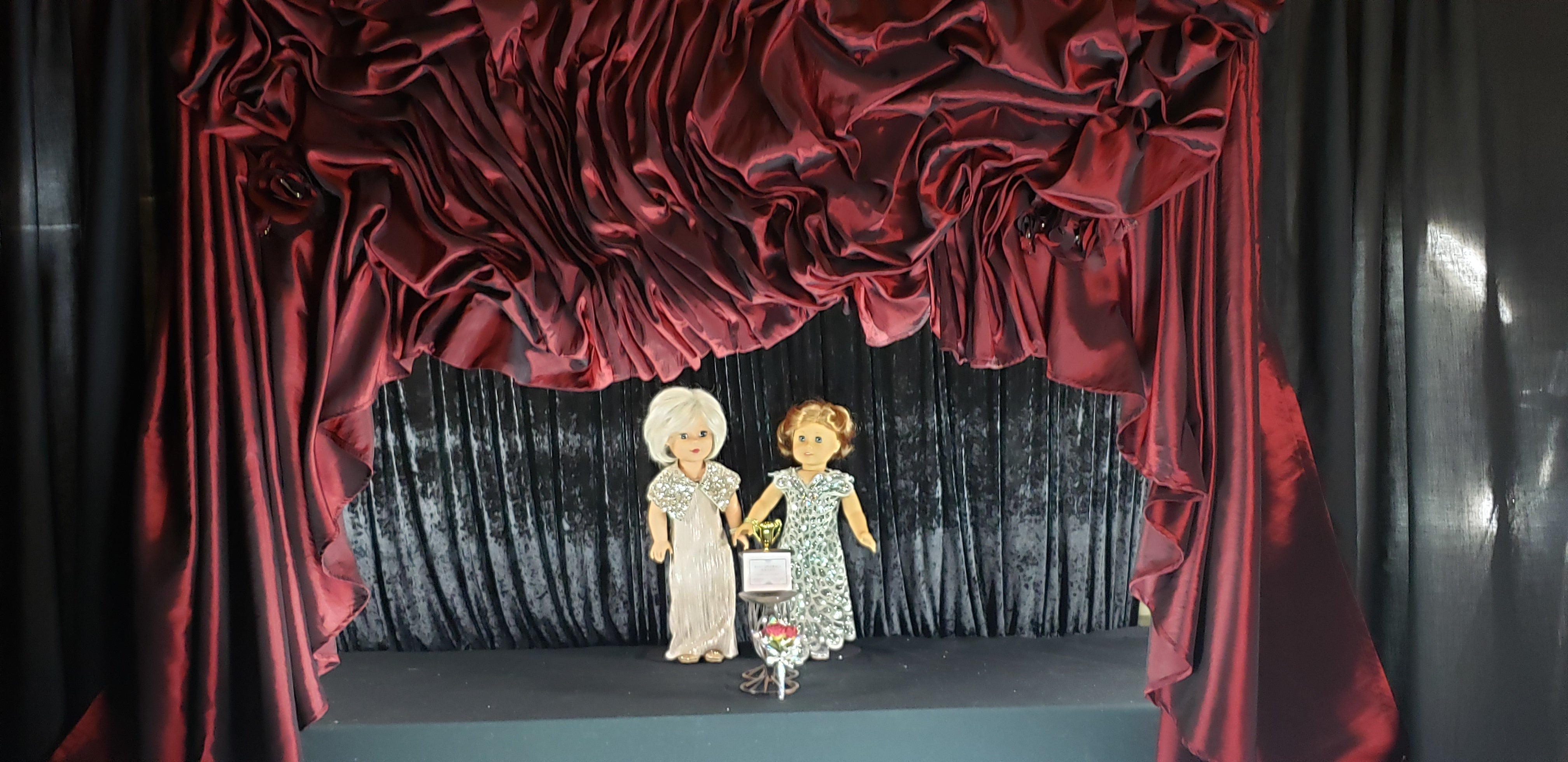 Doll or Puppet Theater Curtain Backdrop Burgundy Ruched Taffeta