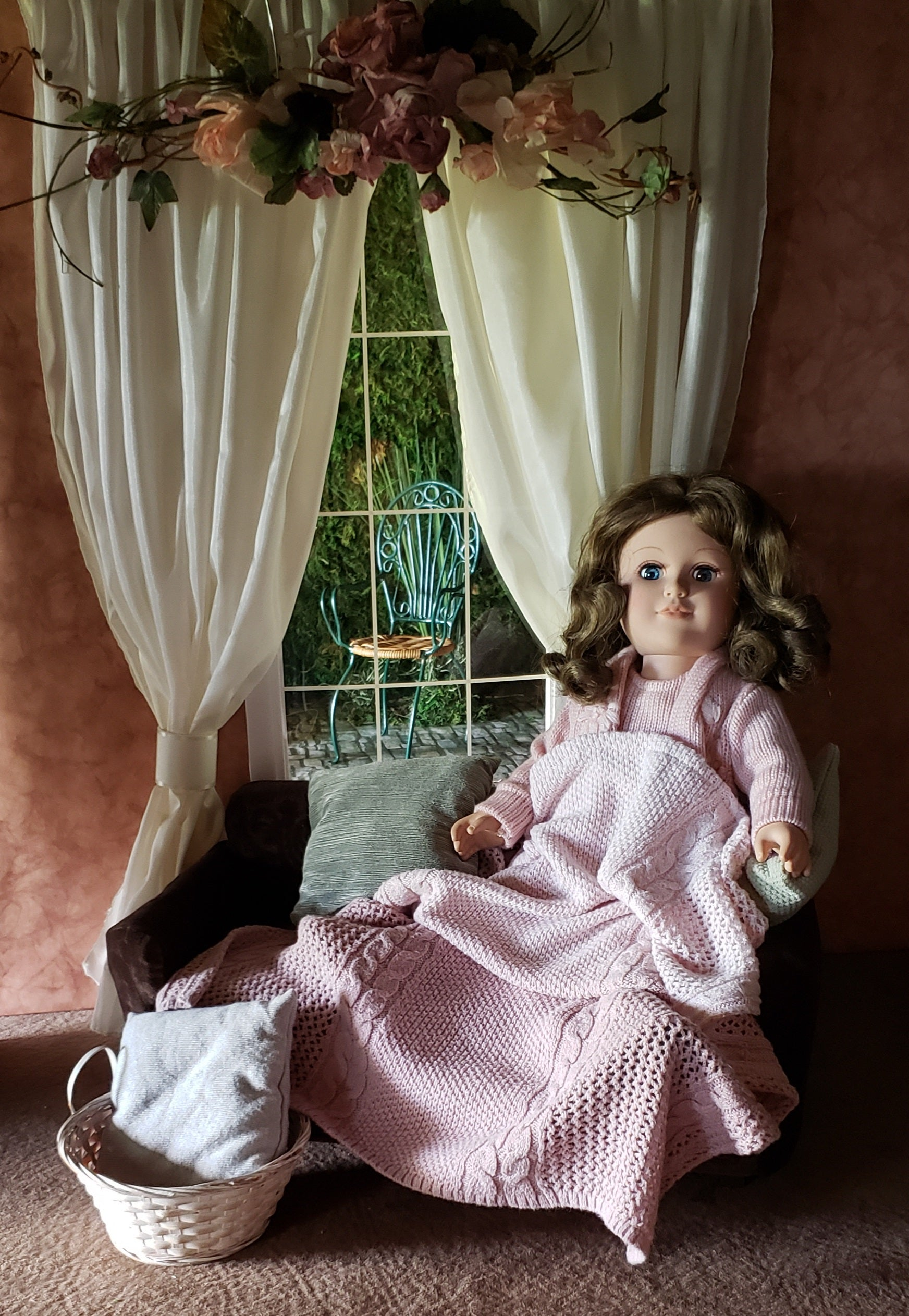 "Pink Ombre Cable Knit Doll Bedding Set for 18"" American Girl Dolls"