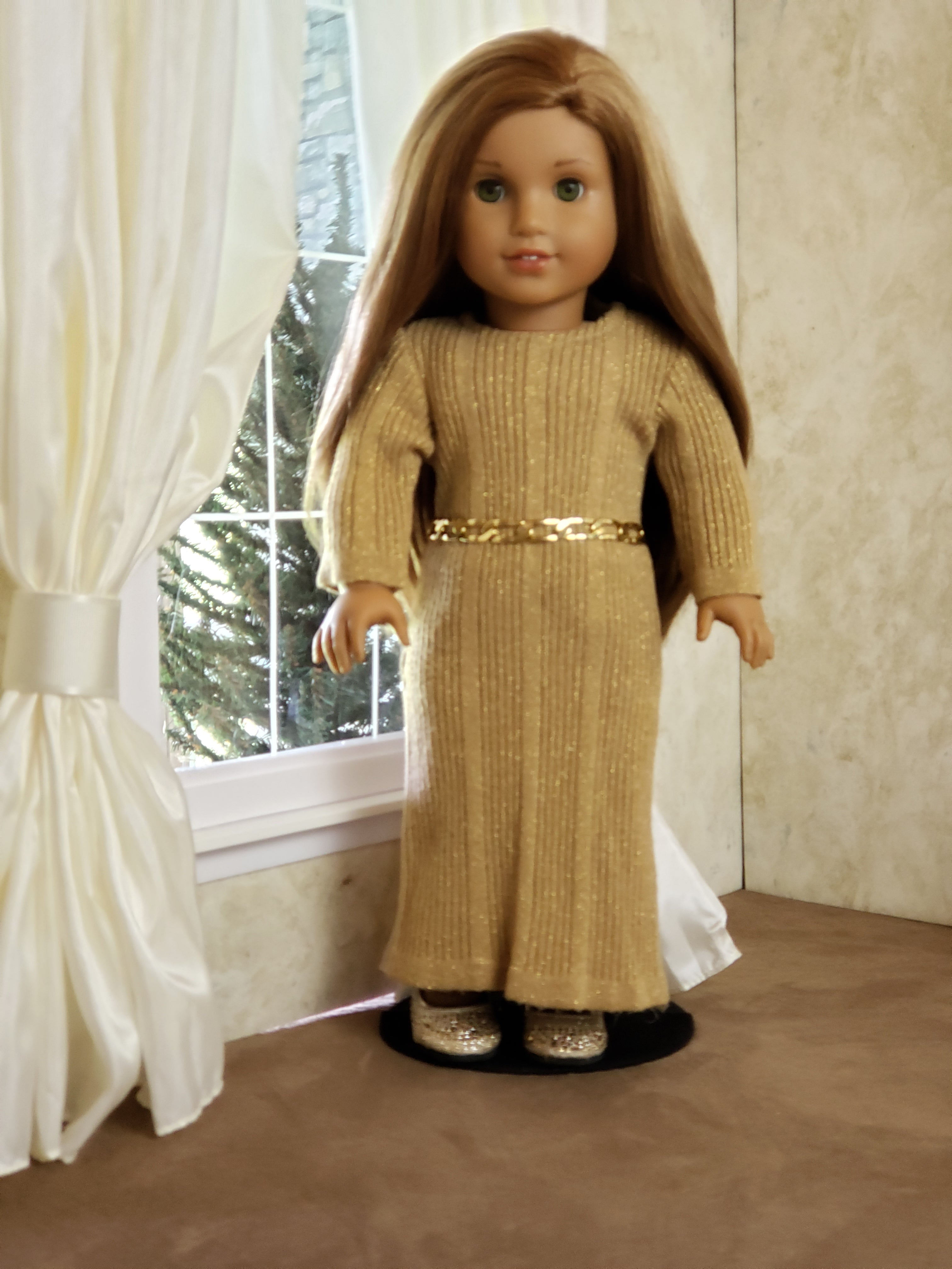 "Custom Gold Knit Dress for 18"" Doll With Gold Jewelry Belt and Shoes fits American Girl"