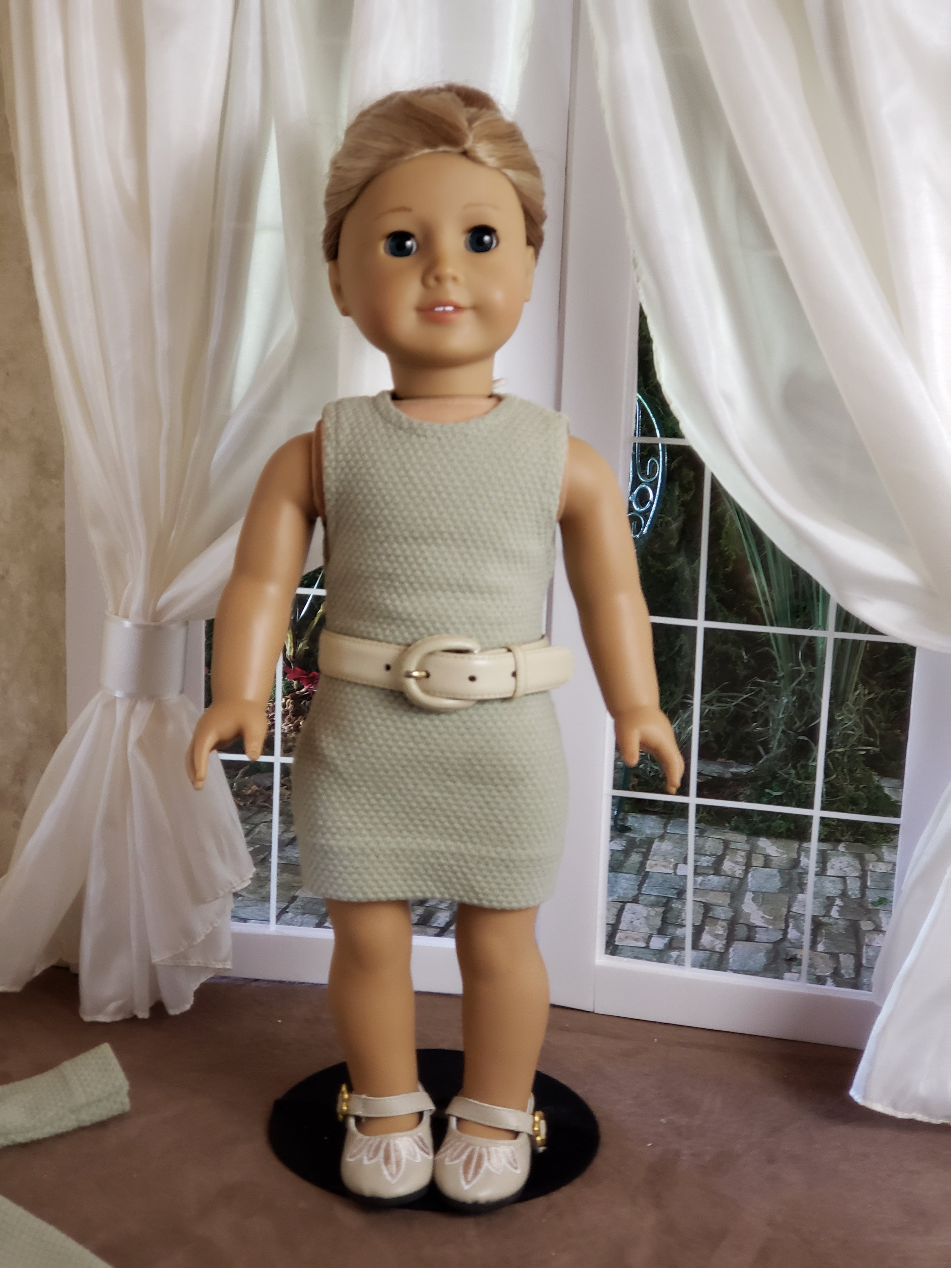 "Light Green Knit Dress, Coat, Shoes and Belt for 18"" Doll fits American Girl"