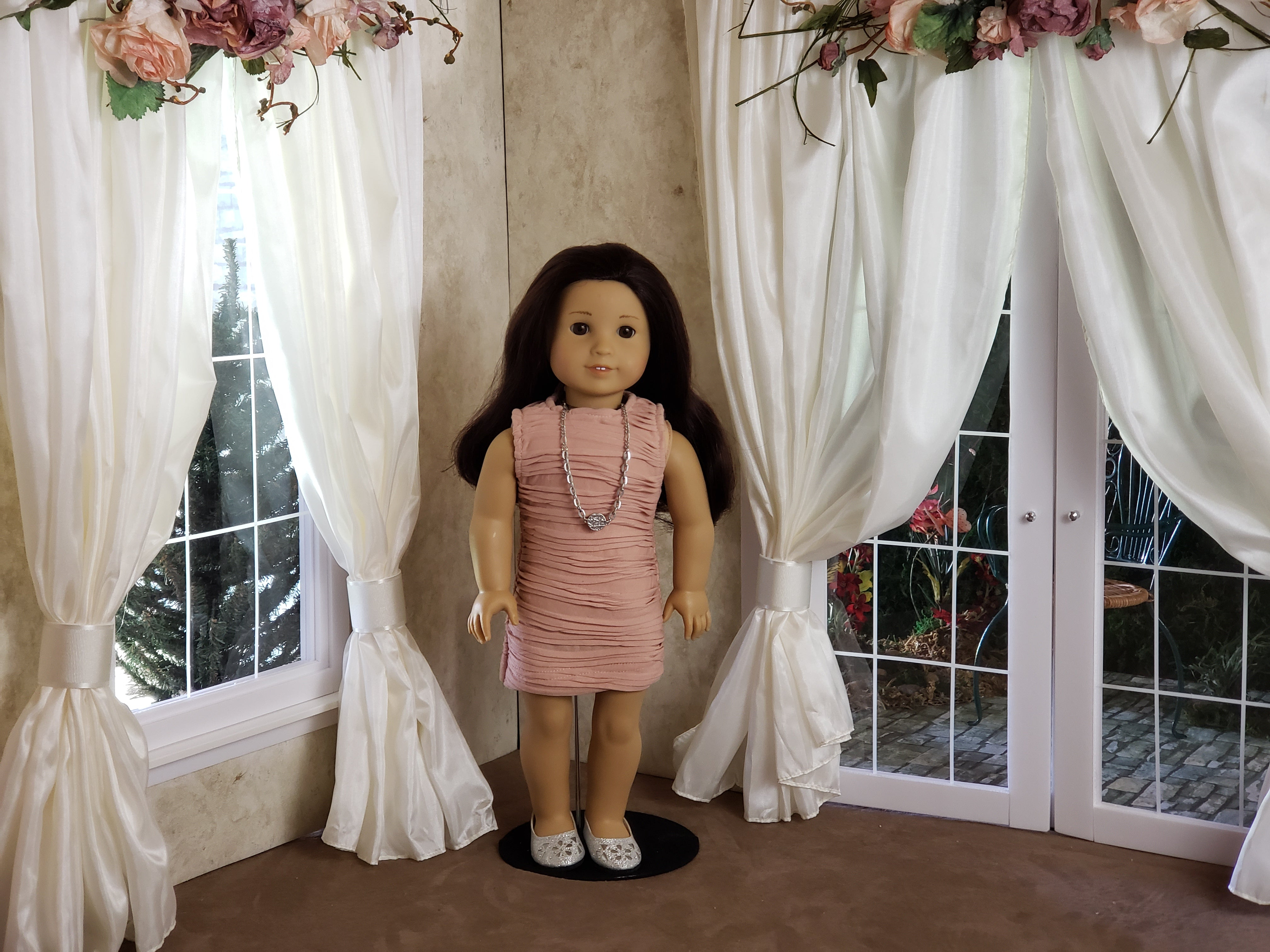 "Soft Pink Textured Knit Dress, Necklace and Shoes for 18"" Doll fits American Girl"