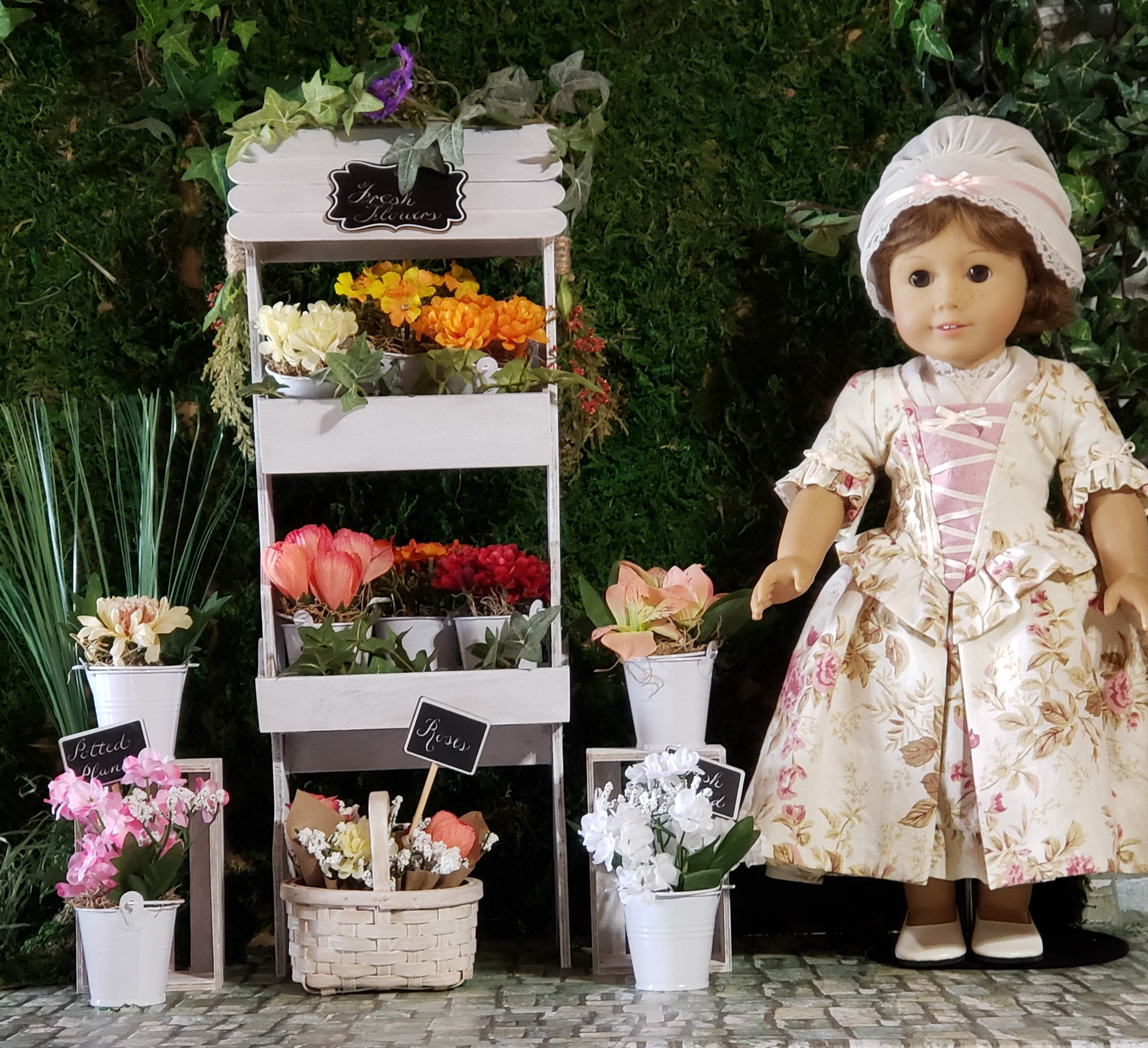 "18"" Doll Garden Cart Flower Stand Play Set Potting Bench for American Girl Dolls"