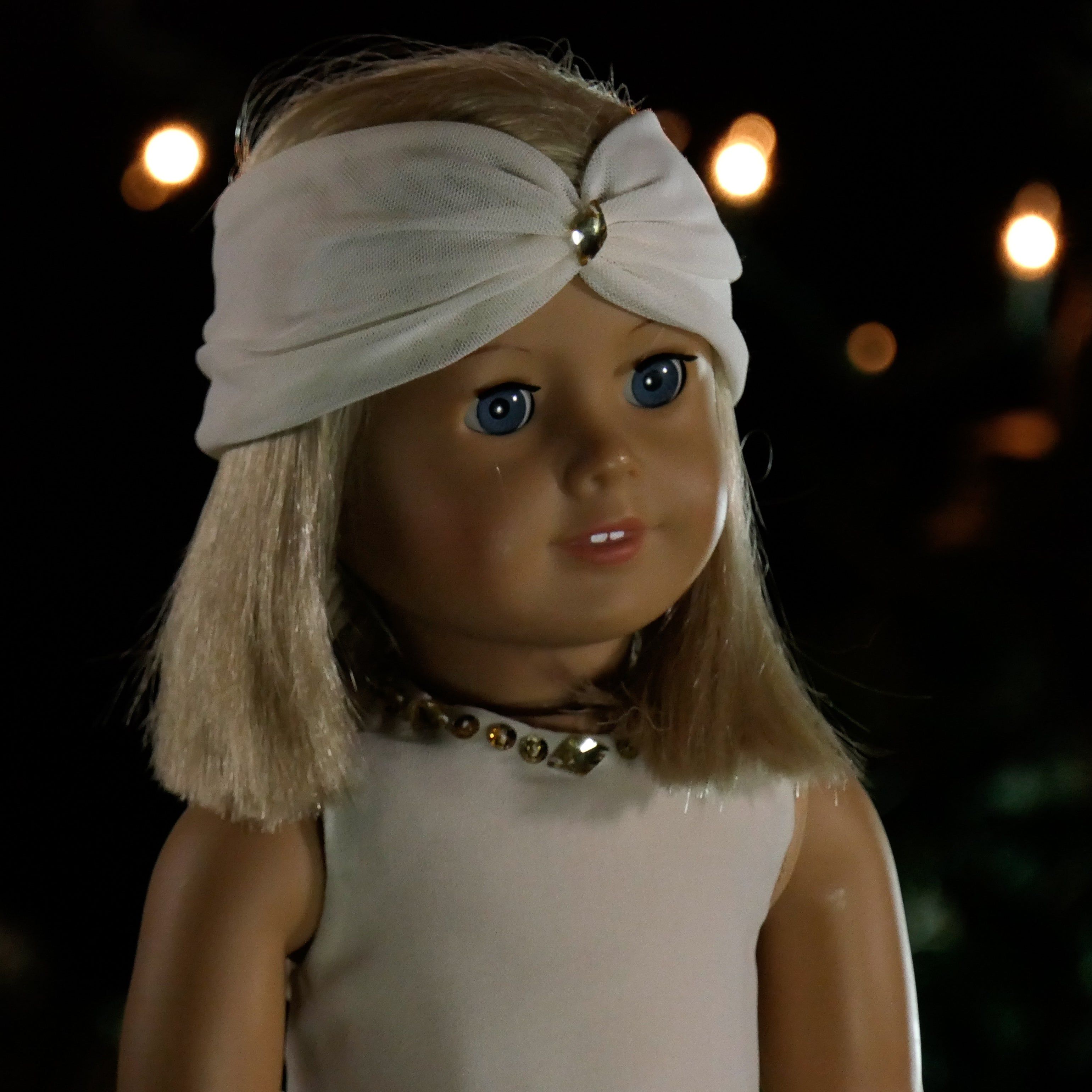 "Custom Ivory Dress for 18"" Doll With Handkerchief Hem and Headband fits American Girl"