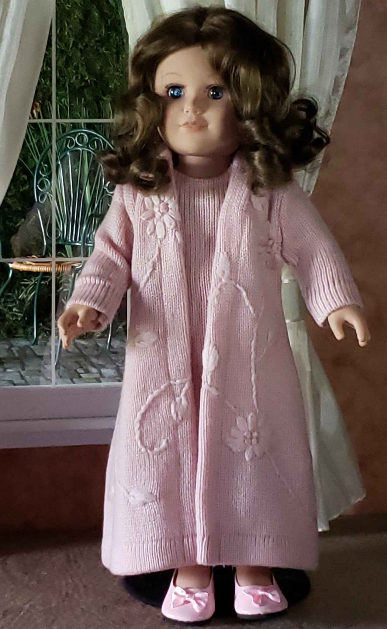 "Pink Acrylic Embroidered Sweater Coat, Dress and Shoes for 18"" Dolls Custom Fits American Girl"