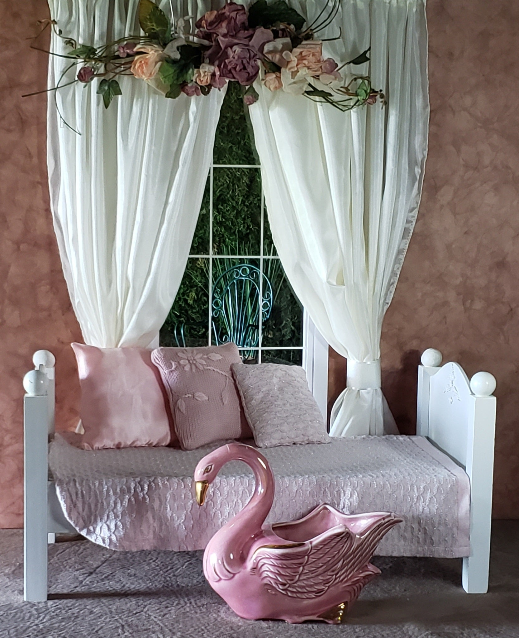 "Doll Bedding With Pillows and Pink Swan Storage Vase for 18"" Dolls fits American Girl"