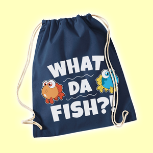"""What da fish"" Turnbeutel - blau"