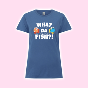 """What da fish"" Girly-Shirt blau"