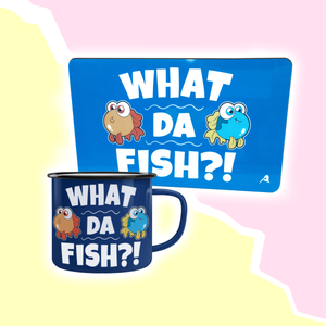 """What da fish"" Set - Emailletasse & Schneidbrettchen"