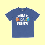 """What da fish"" Kinder-Shirt blau"