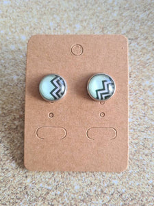 Teal Chevron Studs