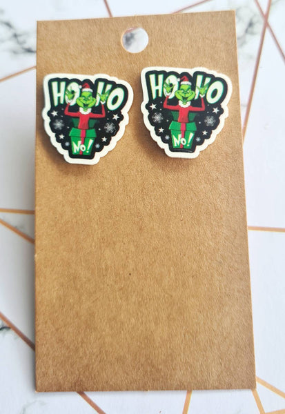 The Grinch Ho Ho NO Statement Studs