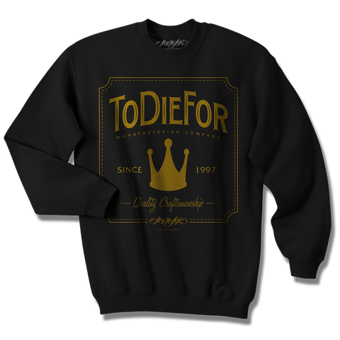 """GOLD CROWN"" CREWNECK SWEATSHIRT (BLACK)"