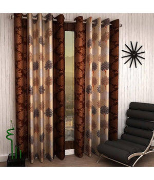 "Brown Eyelet Polyester Curtain Window Length (Set of 2 Pcs) 60""x48"""