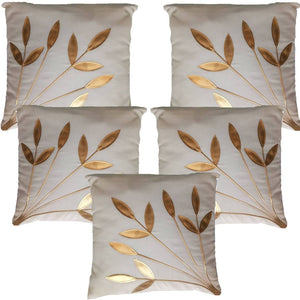 Golden Leaf White Cushion Covers Pack Of 5