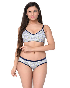 Blue Printed Cotton Hosiery B-Cup Bra & Panty Set