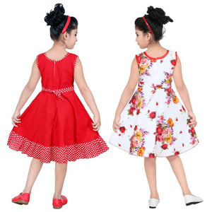 RED AND WHITE COMBO COTTON FROCK