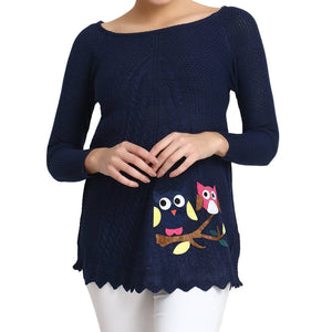 Hot Winter Navy Pure Woolen Owl Printed Womens Sweater