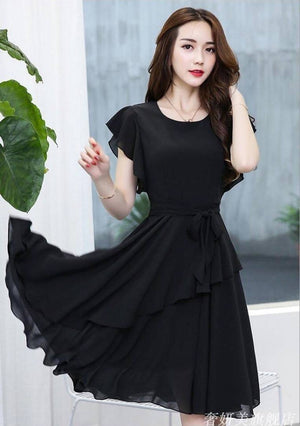 Women's Black Georgette Solid Mini Length Dress