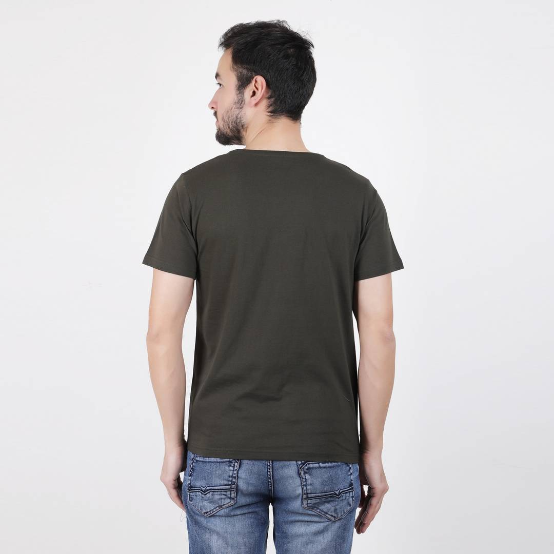 Men's Green Cotton Printed Round Neck Tees