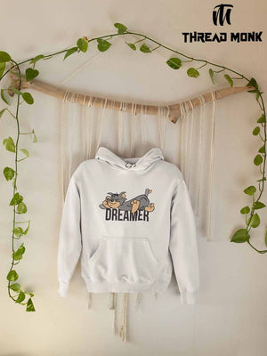 White Printed Fleece Hooded Sweatshirt
