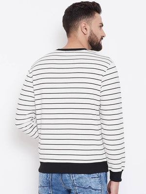 White Men's Stripes Full Sleeve Round Neck Sweatshirt