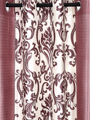 Fashome Pack of 2 Beautiful  Peach Polyester Eyelet Fitting Windows Curtain (5 Feet)