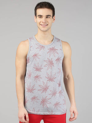Grey Printed Cotton Men's Vest