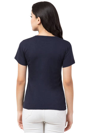 Stylish Blue Cotton Blend Printed T-Shirt For Women