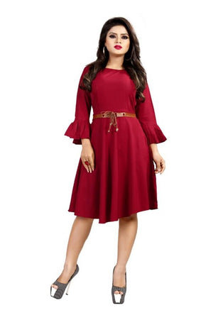Women's Stylish and Trendy American Crepe Dress With Free Belt