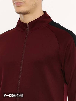 Elegant Maroon Solid Polyester Track Jacket For Men
