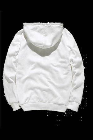 Stylish White Cotton Printed Hooded Sweatshirt For Men
