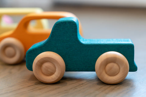 Wooden Teal Truck Toy For Baby