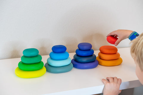 Rainbow Stacking Gems, Bee Pea Baby, Stacking Stones, Waldorf Toy, USA Based