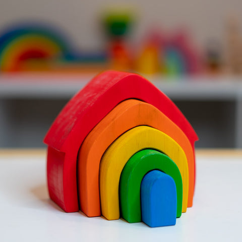 Rainbow Wood House, Gift for 2 year old, gift for 3 year old, Montessori toy, Waldorf toy