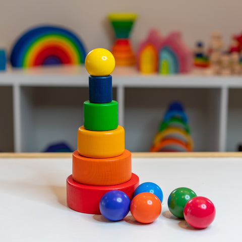 Rainbow stacking bowls, wooden balls, bowls and ball set, wooden toy, kids 2 year old, bee pea baby