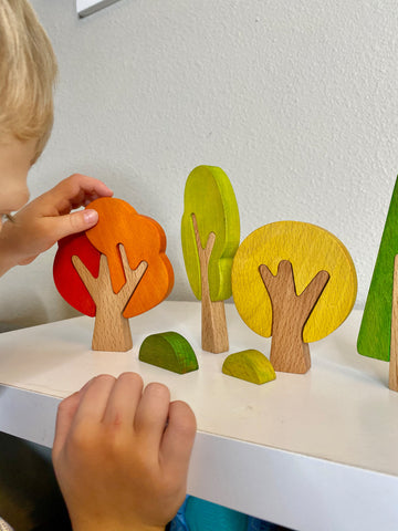 wooden tree set, toy trees, wooden toys