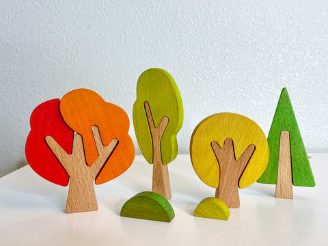Seasonal wooden trees, toys for 2 3 year old, bee pea baby