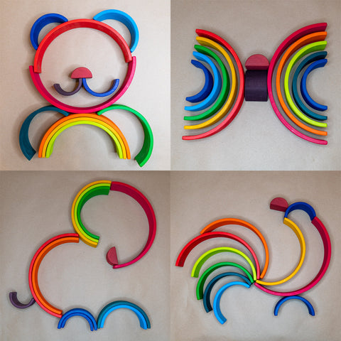 Large wooden rainbow gift for 2 year old 3 year old
