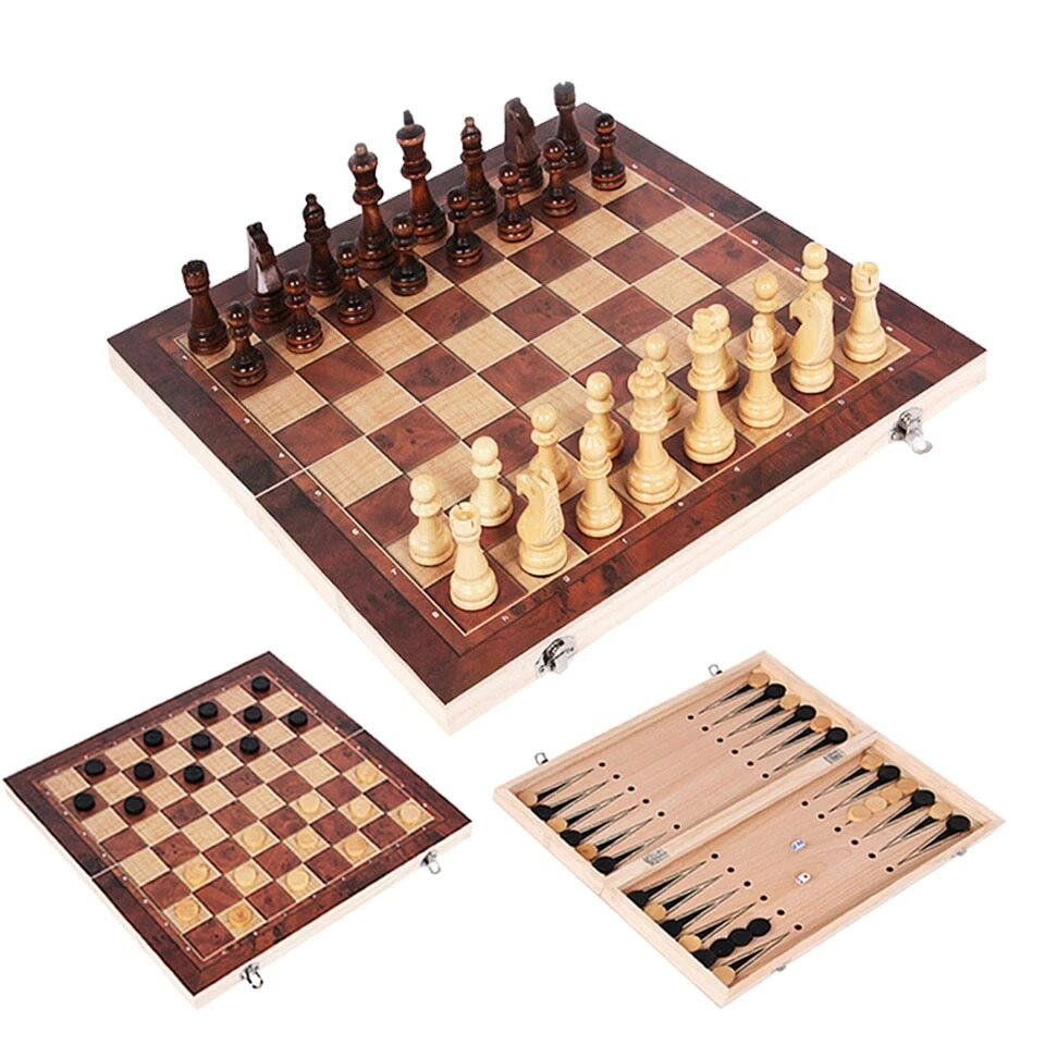 Wooden 3 in 1 Set: Chess, Checkers and Backgammon