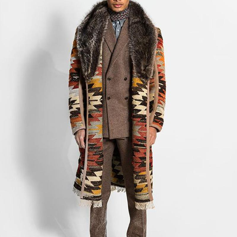 Men's Vintage Fur Collar Warm Long Coat