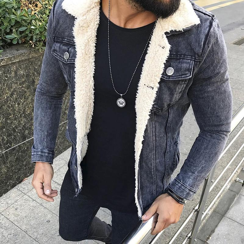Fashion Fleece Turndown Collar Denim Jacket