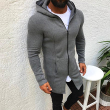 Load image into Gallery viewer, Casual Long Section Zipper Hooded Sweatshirt