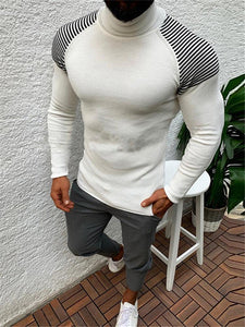 Fashion Striped High Neck Stitching Long Sleeve Slim Sweaters