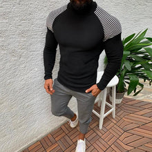 Load image into Gallery viewer, Fashion Striped High Neck Stitching Long Sleeve Slim Sweaters