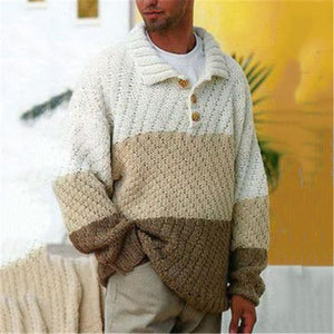 Fashion men's stitching long-sleeve sweater