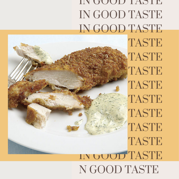 Pretzel-Crusted Chicken Breasts with Mustard-Dill Dipping Sauce