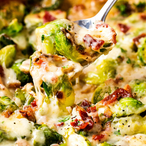 Shredded Brussels Sprouts, Prosciutto and Parmesan Casserole