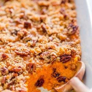 Bourbon Sweet Potato Puree with Buttered Pecans