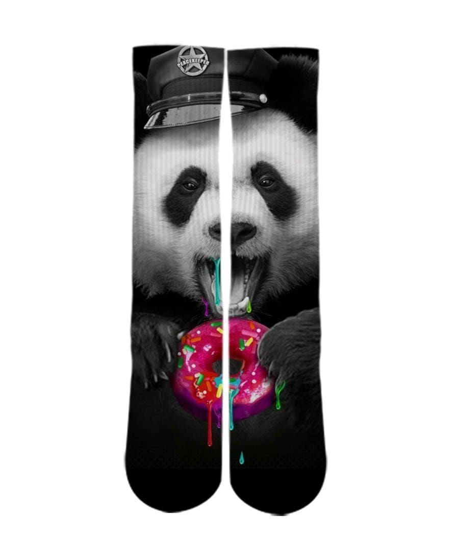 Police Panda Bear sock design-Custom Elite Crew socks - DopeSoxOfficial